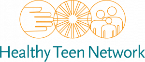 "Logo for Healthy Teen Network: 3 orange circles composed of 1 circle around a hand, 1 circle around a sunburst, 1 circle around three people. ""Healthy Teen Network"" written in teal text below the 3 circles."