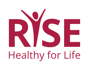 """RISE: Healthy for Life in simple maroon text. The """"I"""" in RISE is a stylized gender-neutral person with their arms flung up in empowerment and celebration"""